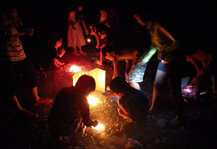 キャンプ花火