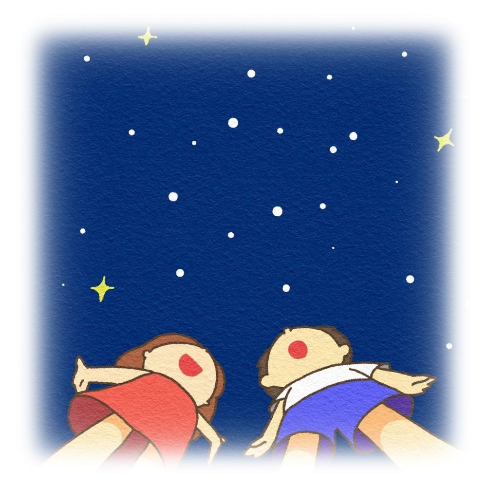 星を見上げる子供